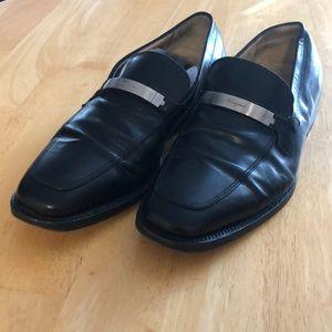 Salvatore Ferragamo Black Buckle Loafers 10.5 2E